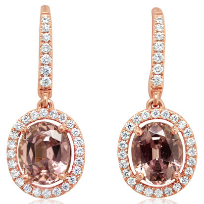 14K Rose Gold Lotus Garnet/Diamond Earrings | ELGOV875330RI