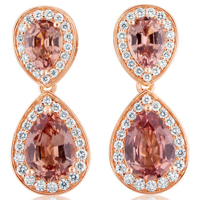 14K Rose Gold Lotus Garnet/Diamond Earrings | ELGPR750504RI