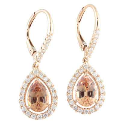 14K Rose Gold Lotus Garnet/Diamond Earrings | ELGPR875314RI
