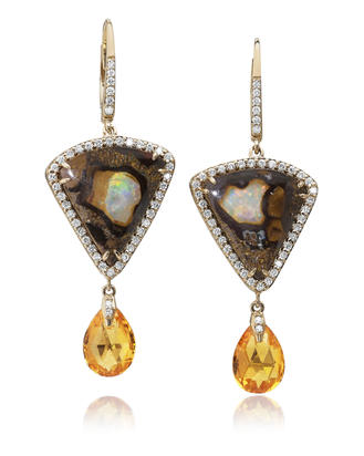 14K Yellow Gold Australian Boulder Opal/Mandarin Garnet/Diamond Earrings | EMBO1A1174C