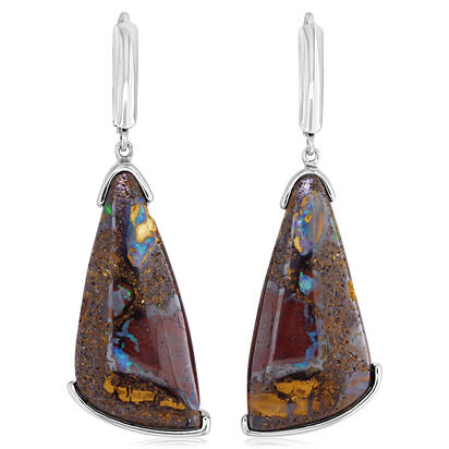 Sterling Silver Australian Boulder Opal Earrings | EMBO1A3087SI