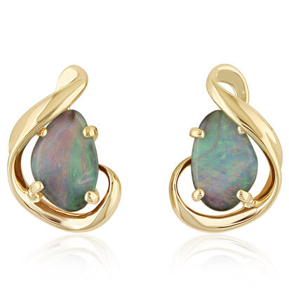 14K Yellow Gold Australian Boulder Opal Earrings | EMBO1A396CI