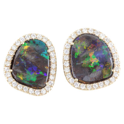 14K Yellow Gold Australian Boulder Opal/Diamond Earrings | EMBO1A514C