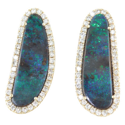 14K Yellow Gold Australian Boulder Opal/Diamond Earrings | EMBO1A515C