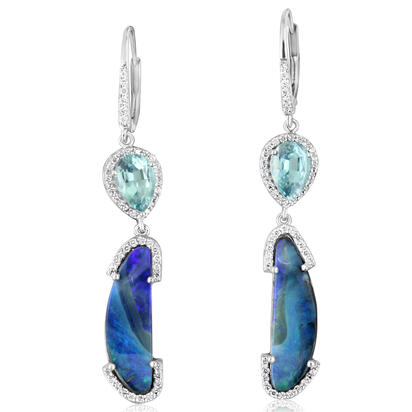 14K White Gold Australian Boulder Opal/Indicolite Tourmaline/Diamond Earrings ,H | EMBO1C738W