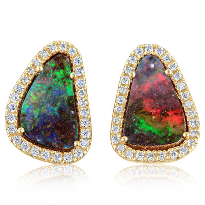 14K Yellow Gold Australian Boulder Opal/Diamond Earrings | EMBO2A251C