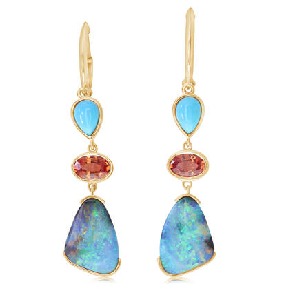 14K Yellow Gold Australian Boulder Opal/Orange Sapphire/Arizona Turquoise Earrings | EMBO3A635C