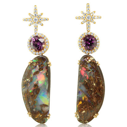 14K Yellow Gold Australian Boulder Opal/Purple Garnet/Diamond Earrings | EMBO4A2210C