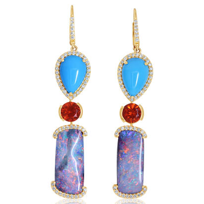 14K Yellow Gold Australian Boulder Opal/Arizona Turquoise/Fire Opal/Diamond Earrings | EMBO4A3225C