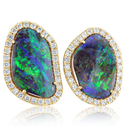 14K Yellow Gold Australian Boulder Opal/Diamond Earrings