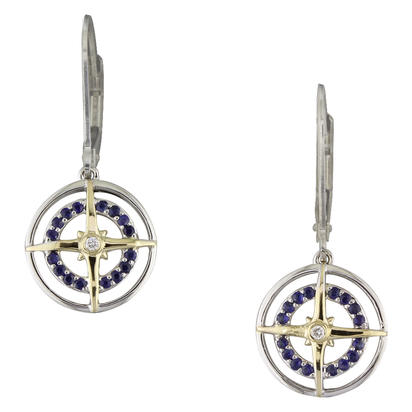 Sterling Silver /14K Yellow Gold Blue Sapphire/Diamond Compass Earrings