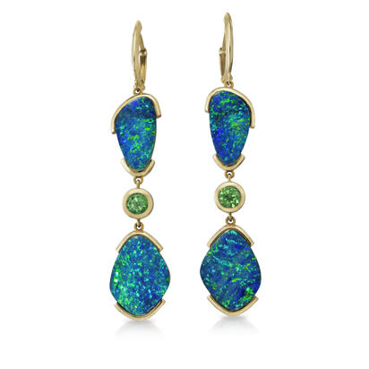 14K Yellow Gold Australian Opal Doublet/Tsavorite/Diamond Earrings | EMDBT1A619C
