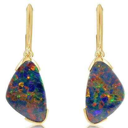 14K Yellow Gold Australian Opal Doublet Earrings | EMDBT1B700C