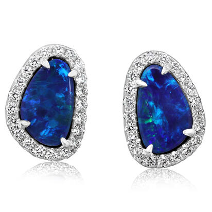 14K White Gold Australian Opal Doublet/Diamond Earrings | EMDBT2A143WI