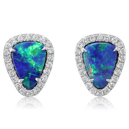 14K White Gold Australian Opal Doublet/Diamond Earrings | EMDBT2A156WI