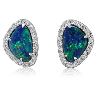 14K White Gold Australian Opal Doublet/Diamond Earrings | EMDBT2A185WI
