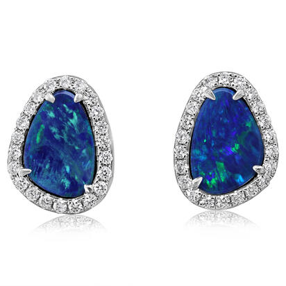 14K White Gold Australian Opal Doublet/Diamond Earrings | EMDBT2A223WI