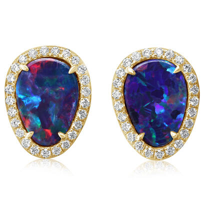 14K Yellow Gold Australian Opal Doublet/Diamond Earrings