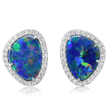 14K White Gold Australian Opal Doublet/Diamond Earrings