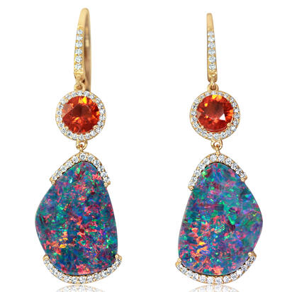 14K Yellow Gold Australian Opal Doublet/Fire Opal/Diamond Earrings , N' | EMDBT3A1057C