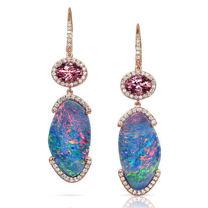 14K Rose Gold Australian Opal Doublet/Lotus Garnet/Diamond Earrings | EMDBT3A1315R
