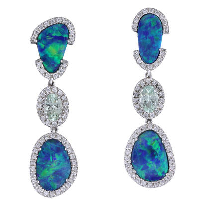 14K White Gold Australian Opal Doublet/Mint Garnet/Diamond Earrings | EMDBT3A627W