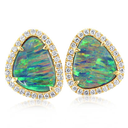 14K Yellow Gold Australian Opal Doublet/Diamond Earrings | EMDBT4A360CI