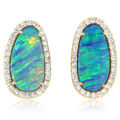 14K Yellow Gold Australian Opal Doublet/Diamond Earrings | EMDBT4A395C