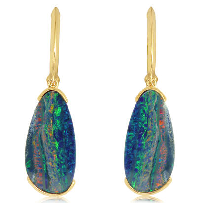 14K Yellow Gold Australian Opal Doublet Earrings | EMDBT4A512C
