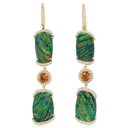 14K Yellow Gold Australian Boulder Opal/Mandarin Garnet/Diamond Earrings | EMDBT5A1877C