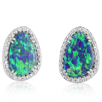 14K Yellow Gold Australian Boulder Opal/Diamond Earrings | EBOFF765685C