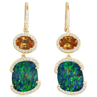 14K Yellow Gold Australian Opal Doublet/Mandarin Garnet/Diamond Earrings | EMDBT5A959C