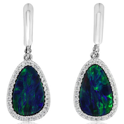 14K White Gold Australian Opal Doublet/Diamond Dangle Earrings | EMDBTG10490WI