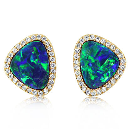 14K Yellow Gold Australian Opal Doublet/Diamond Earrings | EMDBTG12350CI