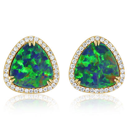 14K Yellow Gold Australian Opal Doublet/Diamond Earrings | EMDBTG12452CI