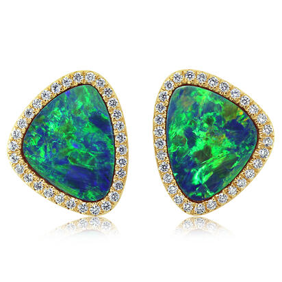 14K Yellow Gold Australian Opal Doublet/Diamond Earrings | EMDBTG12515CI