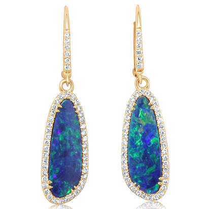 14K Yellow Gold Australian Opal Doublet/Diamond Dangle Earrings