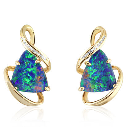 14K Yellow Gold Australian Opal Doublet/Diamond Earrings | EMDBTG20612CI
