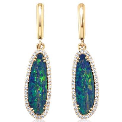 14K Yellow Gold Australian Opal Doublet/Diamond Dangle Earrings | EMDBTG20639CI