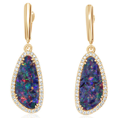 14K Yellow Gold Australian Opal Doublet/Diamond Dangle Earrings | EMDBTG40694CI