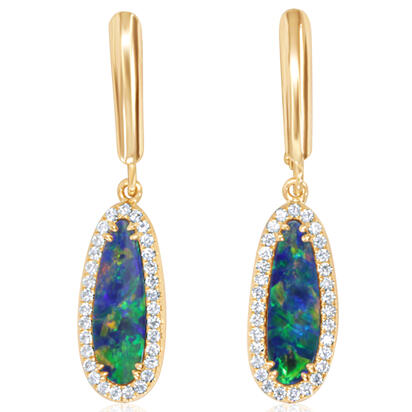 14K Yellow Gold Australian Opal Doublet/Diamond Dangle Earrings | EMDBTG6299CI