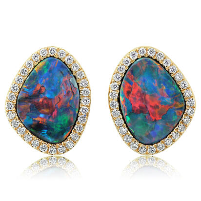 14K Yellow Gold Australian Opal Doublet/Diamond Earrings | EMDBTG8425CI