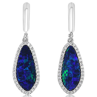 14K White Gold Australian Opal Doublet/Diamond Dangle Earrings | EMDBTG8425WI