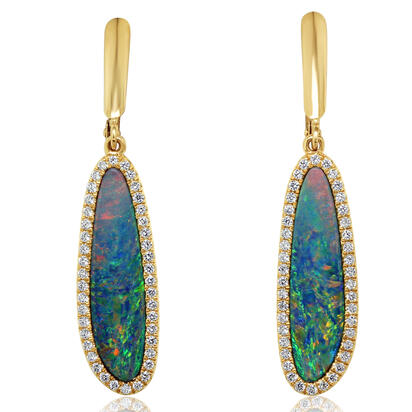 14K Yellow Gold Australian Opal Doublet/Diamond Dangle Earrings | EMDBTG8550CI