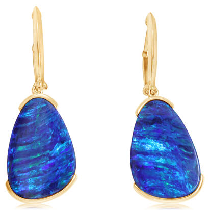 14K Yellow Gold Australian Opal Doublet Earrings | EMDBTPR11723C