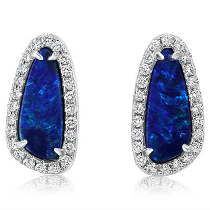14K White Gold Australian Opal Doublet/Diamond Earrings | EMDBTPR3180WI
