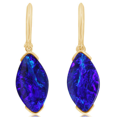 14K Yellow Gold Australian Opal Doublet Earrings | EMDBTPR6456C