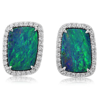 14K White Gold Australian Opal Doublet/Diamond Earrings | EMDBTPR6460WI