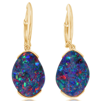 14K Yellow Gold Australian Opal Doublet Earrings | EMDBTPR8501C