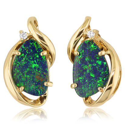 14K Yellow Gold Australian Opal Doublet/Diamond Earrings | EMDBTPRG12492CI